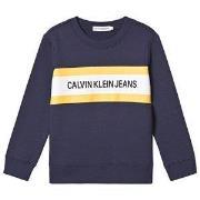 Calvin Klein Jeans Color Block Brandend Tröja Marinblå 4 years