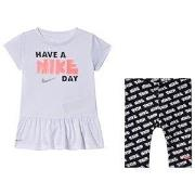 NIKE Slogan Tunika och Capri Leggings Set Vit/Svart 12 months